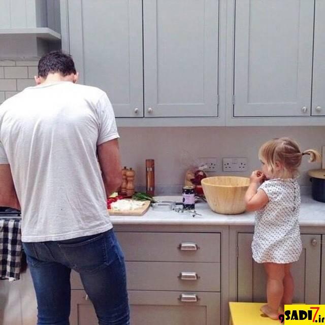 ژست های بامزه پدر و فرزندی