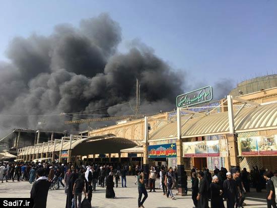 آتش سوزی در صحن جدید حرم حضرت علی